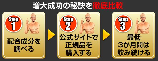 増大成功の秘訣を徹底比較 Step1.配合成分を調べる Step2.公式サイトで正規品を購入する Step3.最低3ヶ月間は飲み続ける